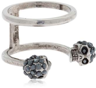 Alexander McQueen Silver Double Skulls Stacked Ring