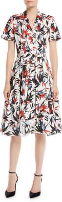 Jason Wu Short-Sleeve Button-Down Floral-Print Cotton Poplin Shirtdress