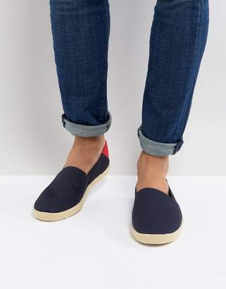 Tommy Hilfiger Easy Summer Canvas Slip On Espadrilles In Navy