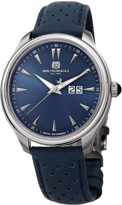 Bruno Magli Men's Luca 42mm Perforated Leather Watch, Blue/Silver