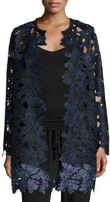 Elie Tahari Lauren Long Lace Coat, Black $548 thestylecure.com