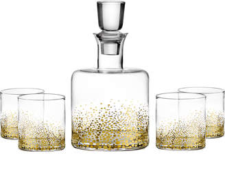 Jay Import Co Luster 5-Piece Square Whiskey Decanter Set, Gold