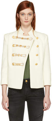 Pierre Balmain White Detailed Double Breasted Blazer