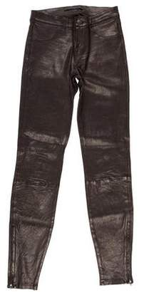 J Brand Mid-Rise Leather Pants