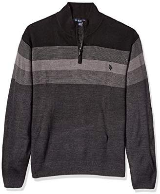 U.S. Polo Assn. Men's Big and Tall Stripe Color Block V-Neck Sweater