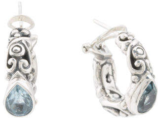 Made In Bali Sterling Silver Blue Topaz Hoop Earrings