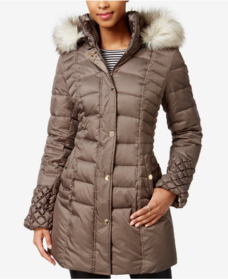Betsey Johnson Faux-Fur-Trim Quilted Puffer Coat $250 thestylecure.com
