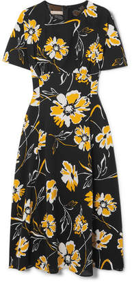 Michael Kors Floral-print Silk Crepe De Chine Midi Dress - Black