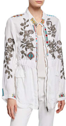 Johnny Was Milton Embroidered Zip-Front Jacket