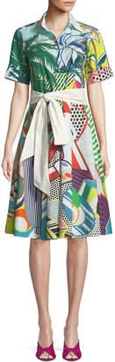 Mary Katrantzou Short-Sleeve Button-Down Tie-Waist Pop-Art Print Cotton Shirtdress