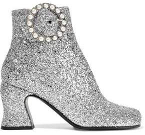 McQ Kitty Faux Pearl-embellished Glittered Canvas Ankle Boots