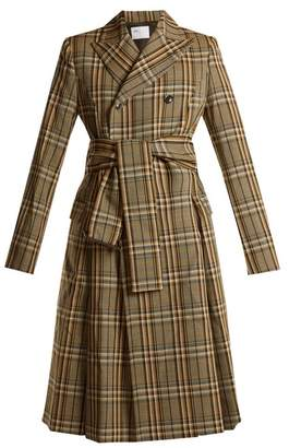 Toga Peak-lapel double-breasted checked trench coat