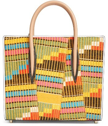 Christian Louboutin  Christian Louboutin Medium Paloma Africube Leather & Textile Tote - None