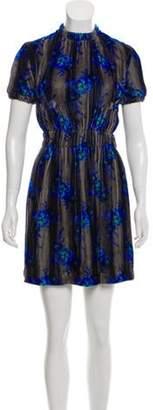 Christopher Kane Floral Print Velvet Dress Grey Floral Print Velvet Dress