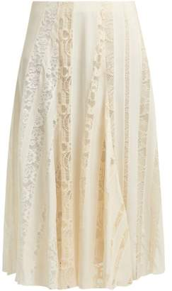 Chloé Lace Panelled Silk Midi Skirt - Womens - Ivory