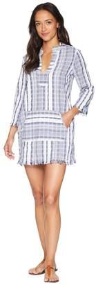Tommy Bahama Yarn Dye Stripe V-Neck Popover Tunic Cover-Up Women's Swimwear