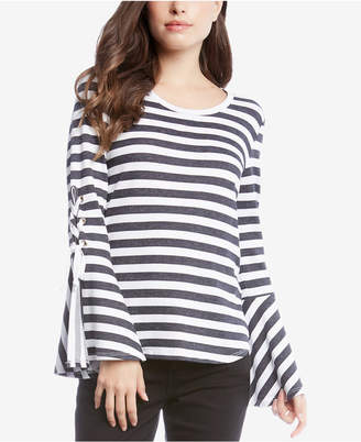 Karen Kane Striped Lace-Up-Sleeve Top