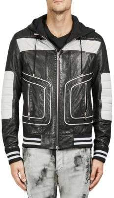 Balmain Stripe-Trimmed Leather Hooded Jacket
