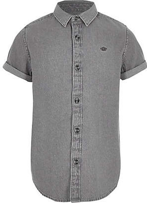 River Island Boys grey wasp embroidered denim shirt