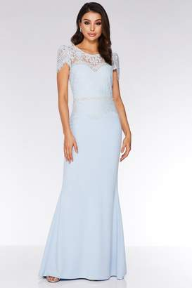 Quiz Light Blue Lace Embellished Fishtail Maxi Dress