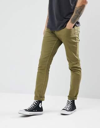 Jack and Jones Slim Fit Jeans In Khaki Coloured Denim