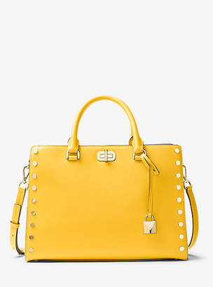 Michael Kors Sylvie Large Studded Leather Satchel