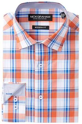 Nick Graham Modern Trim Fit Plaid Dress Shirt