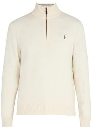 Polo Ralph Lauren Half Zip Wool Blend Sweater - Mens - Cream