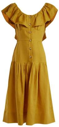 Sea Goldie Dropped Waist Ruffled Neck Linen Dress - Womens - Yellow