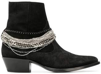 Amiri chain embellished ankle boots
