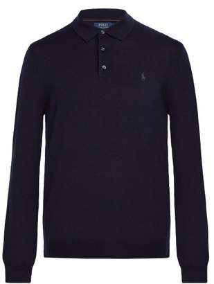 Polo Ralph Lauren Logo Embroidered Long Sleeved Wool Polo Shirt - Mens - Navy