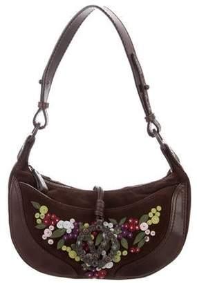 Valentino Suede & Leather-Trimmed Shoulder Bag