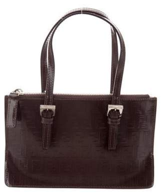 Fendi Mini Zucchino-Embossed Leather Handle Bag silver Mini Zucchino-Embossed Leather Handle Bag