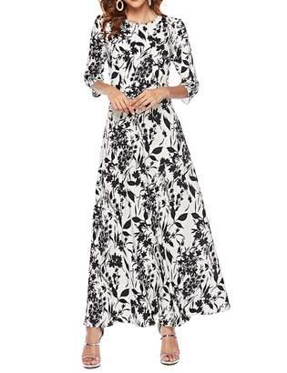 Simple Flavor Women's 3/4 Sleeve Vintage Floral Print Maxi Dress(,M)