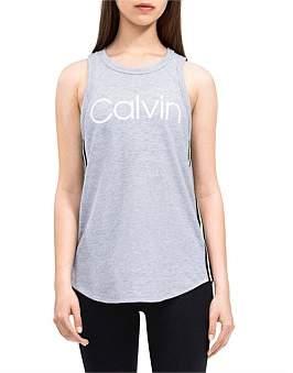 8cf38528af912 Calvin Klein Rounded Hem High Neck Logo Tank With Track Stripe