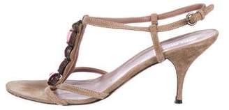 Miu Miu Suede Embellished Strap Sandals