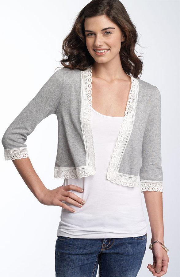 Susina® Crochet Trim Cardigan (Juniors)