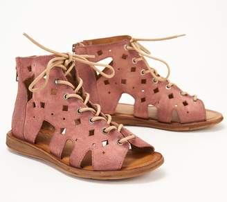 Miz Mooz Perforated Leather Lace-Up Sandals - Florence