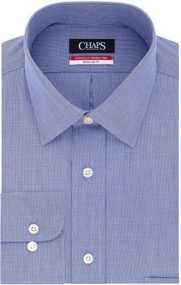 Chaps Big & Tall Essentials Regular-Fit Microcheck Wrinkle-Free Stretch Collar Dress Shirt