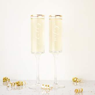 Cathy's Concepts Cathys Concepts 2-pc. Hubby & Wifey Gold Rim Champagne Flute Set