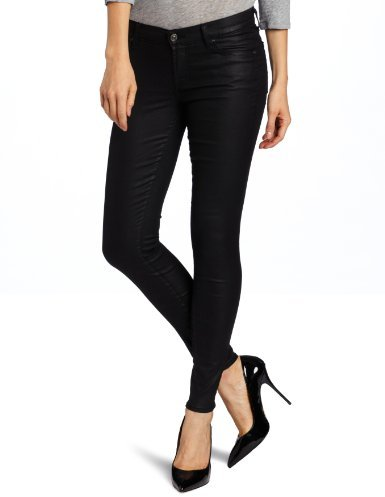 7 For All Mankind Women's 30 Inch Inseam Skinny Jean in Shiny Polished Black