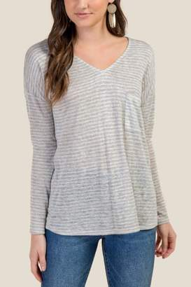 francesca's Kayleigh Striped Knit Tee - Heather Oat
