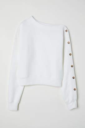 H&M One-shoulder Sweatshirt - White