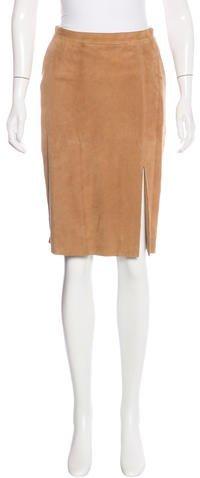 Armani Collezioni Suede Pencil Skirt