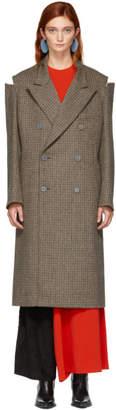 Maison Margiela Brown Check Wool Coat