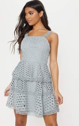 PrettyLittleThing Grey Crochet Lace Skater Dress