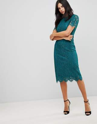 Club L Detailed Midi Dress With Lace Overlay