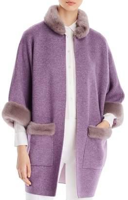 Maximilian Furs Mink Fur-Trim Wool & Cashmere Kimono Coat - 100% Exclusive