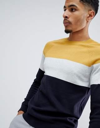 New Look color block sweater in mustard