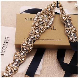 Yanstar Wedding Bridal Belt With Rose Gold Rhinestone Navy Blue Ribbon Sashes For Wedding Gown